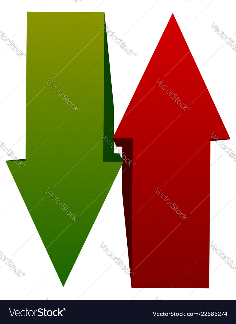 Green red up down arrow icons vertical arrows in