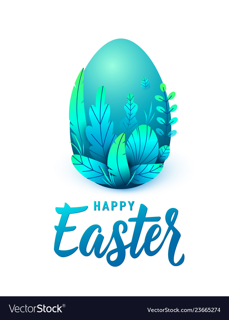 Happy easter card big 3d egg with spring leaves