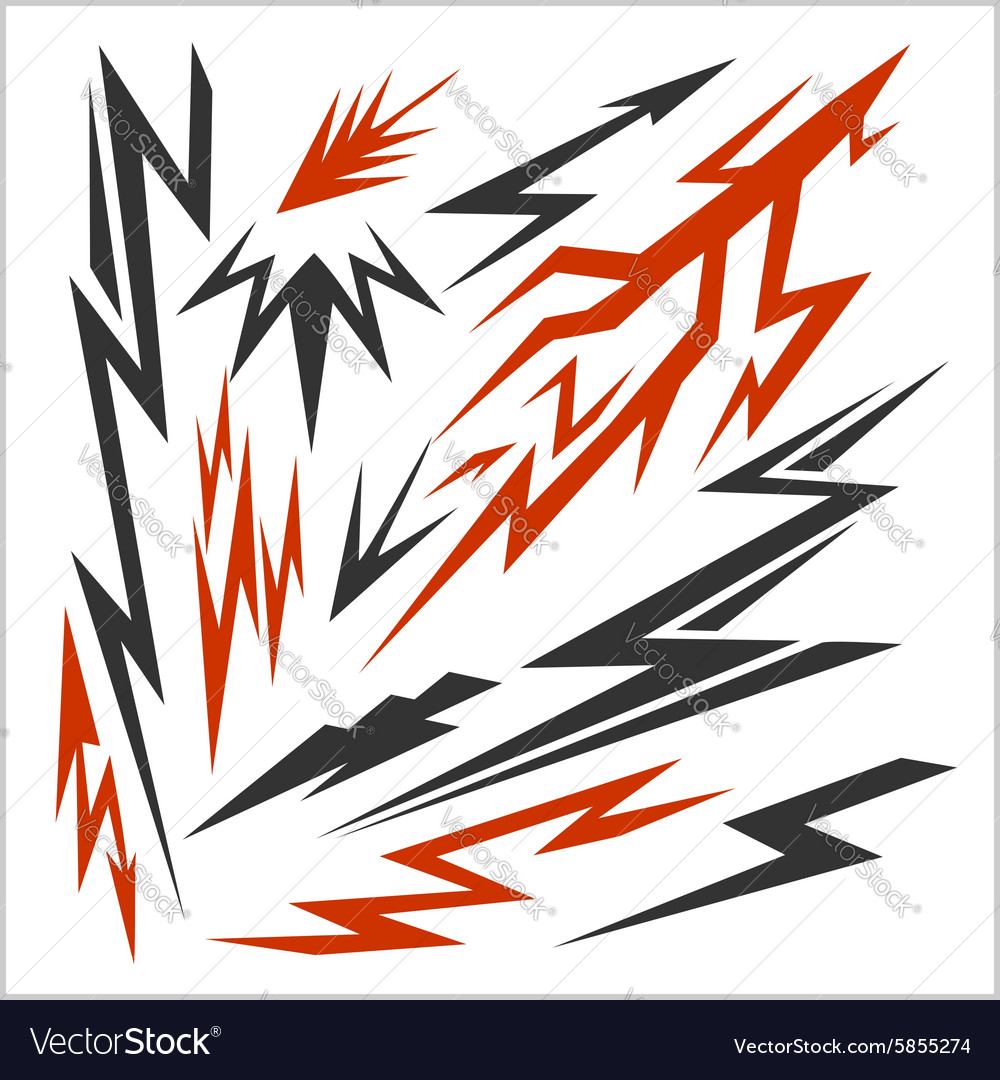 Lightning set isolated on white stock vector image