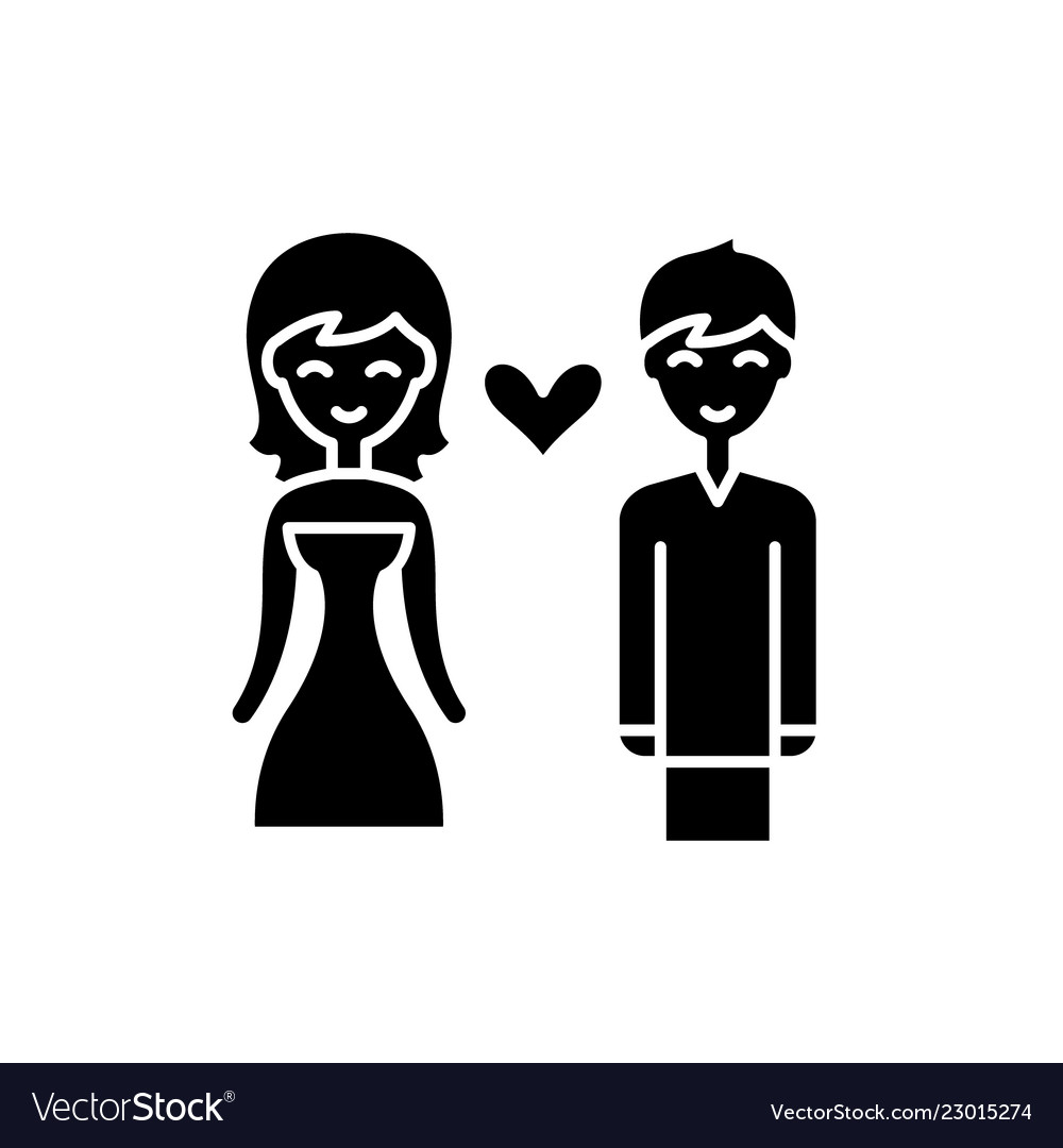 Love couple black icon sign on isolated