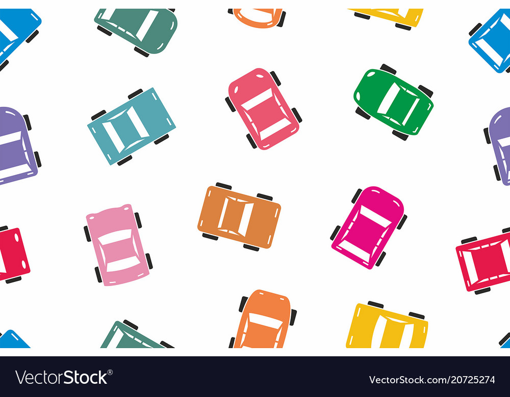 Seamless colorful car pattern