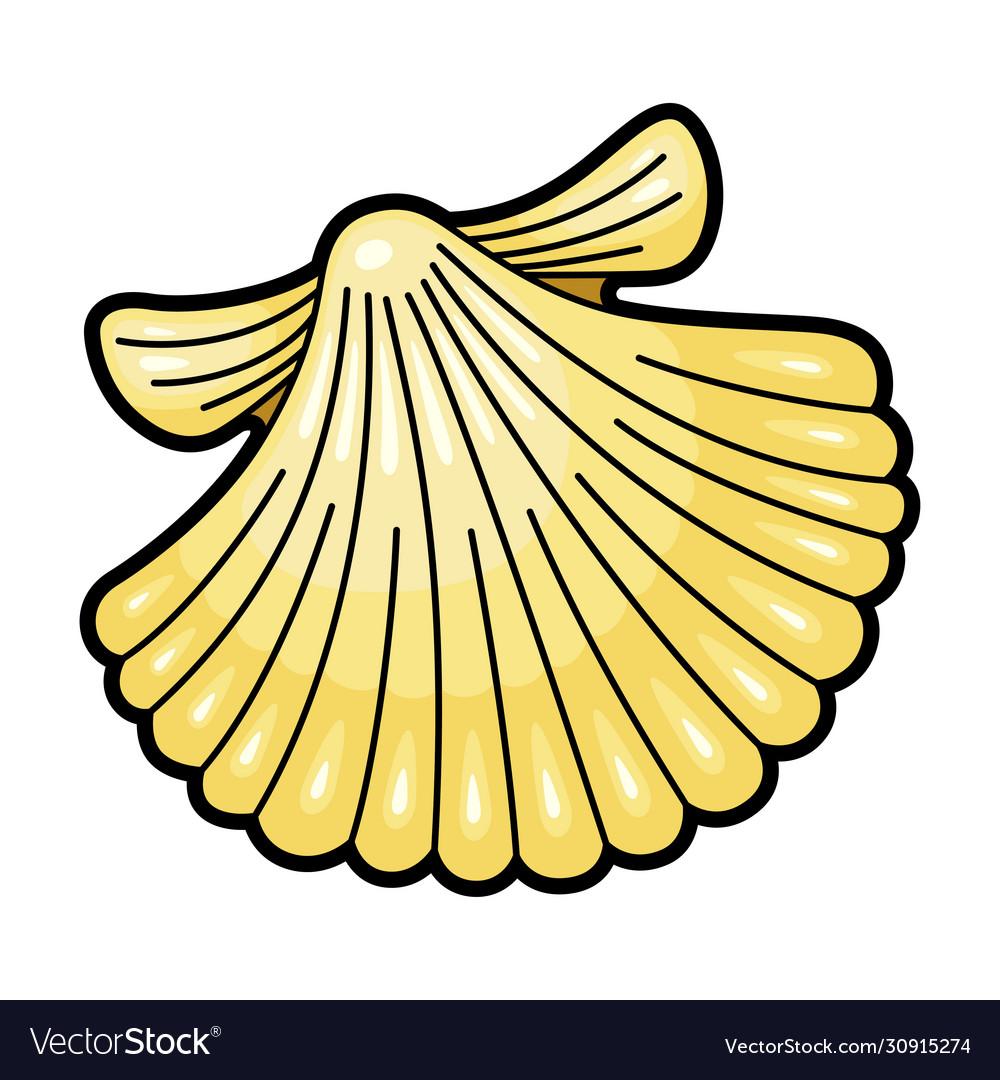 Seashell yellow natural underwater icon