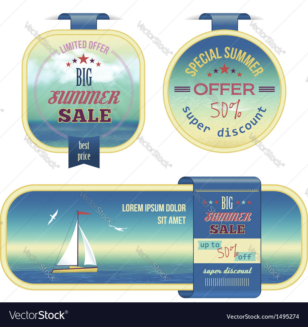 Set of summer sale labels tags stickers banners vector image