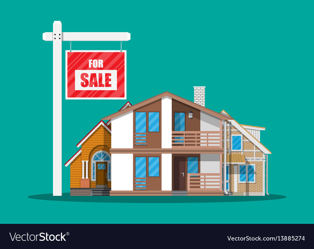 Suburban family house set and for sale placard