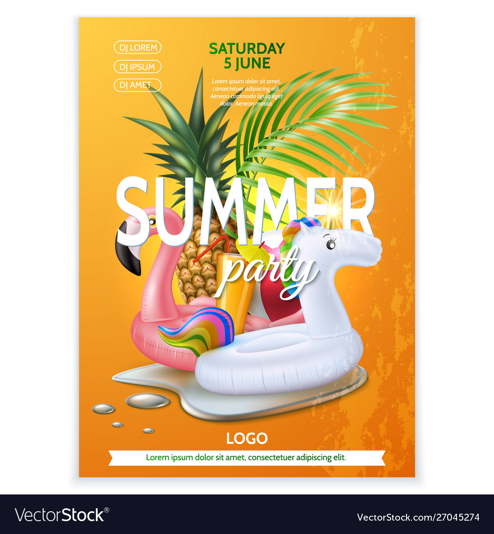 Summer pool party tropical leaf flamingo