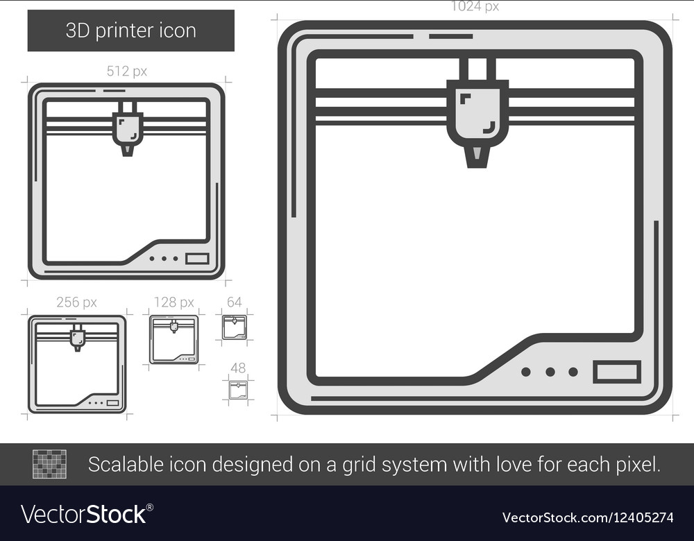 Three D printer line icon