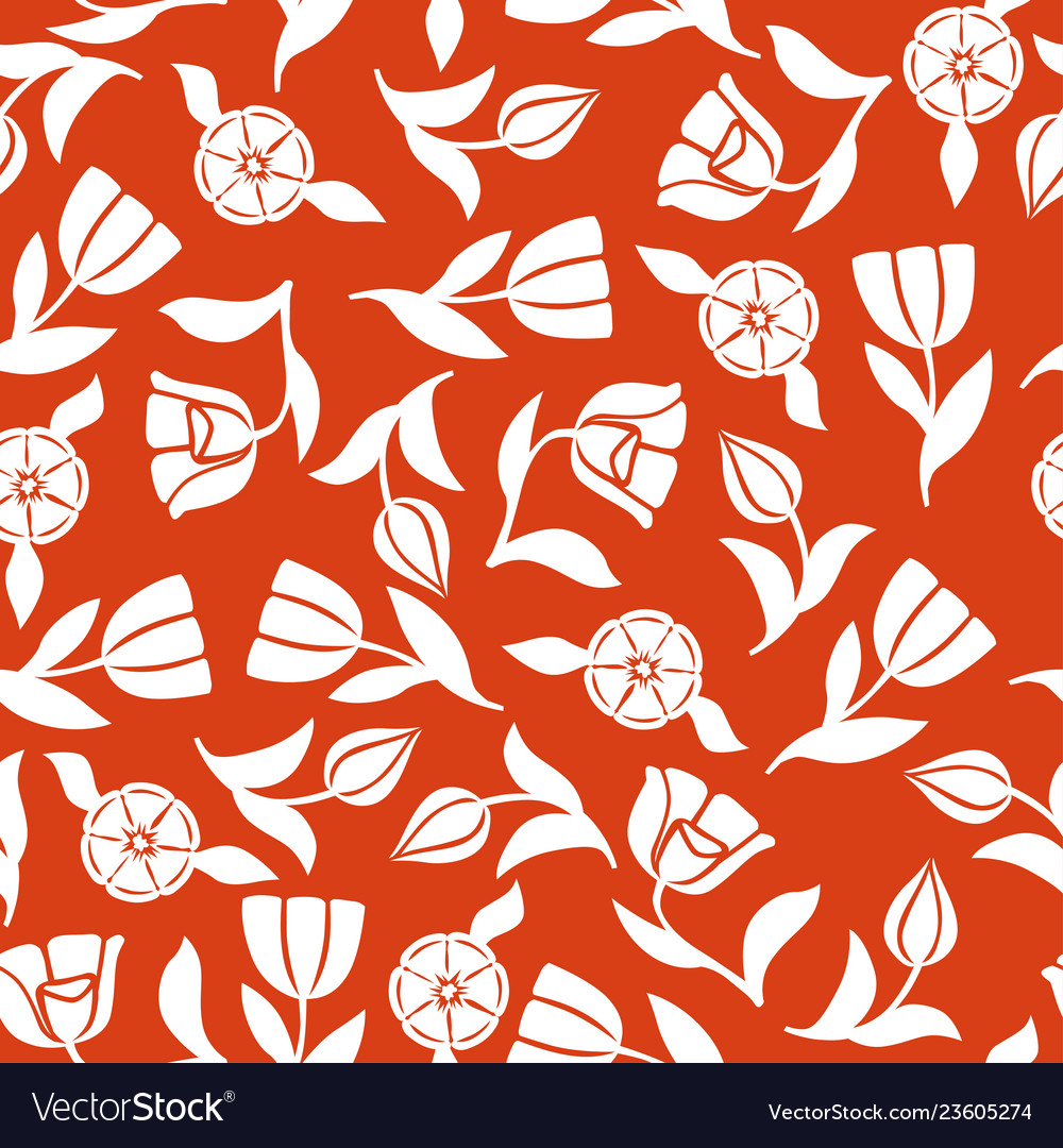 Tulips pattern seamless ornament on red background