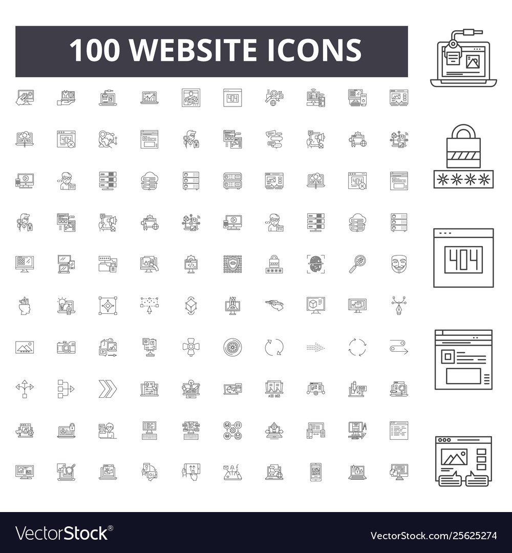 Website line icons signs set outline