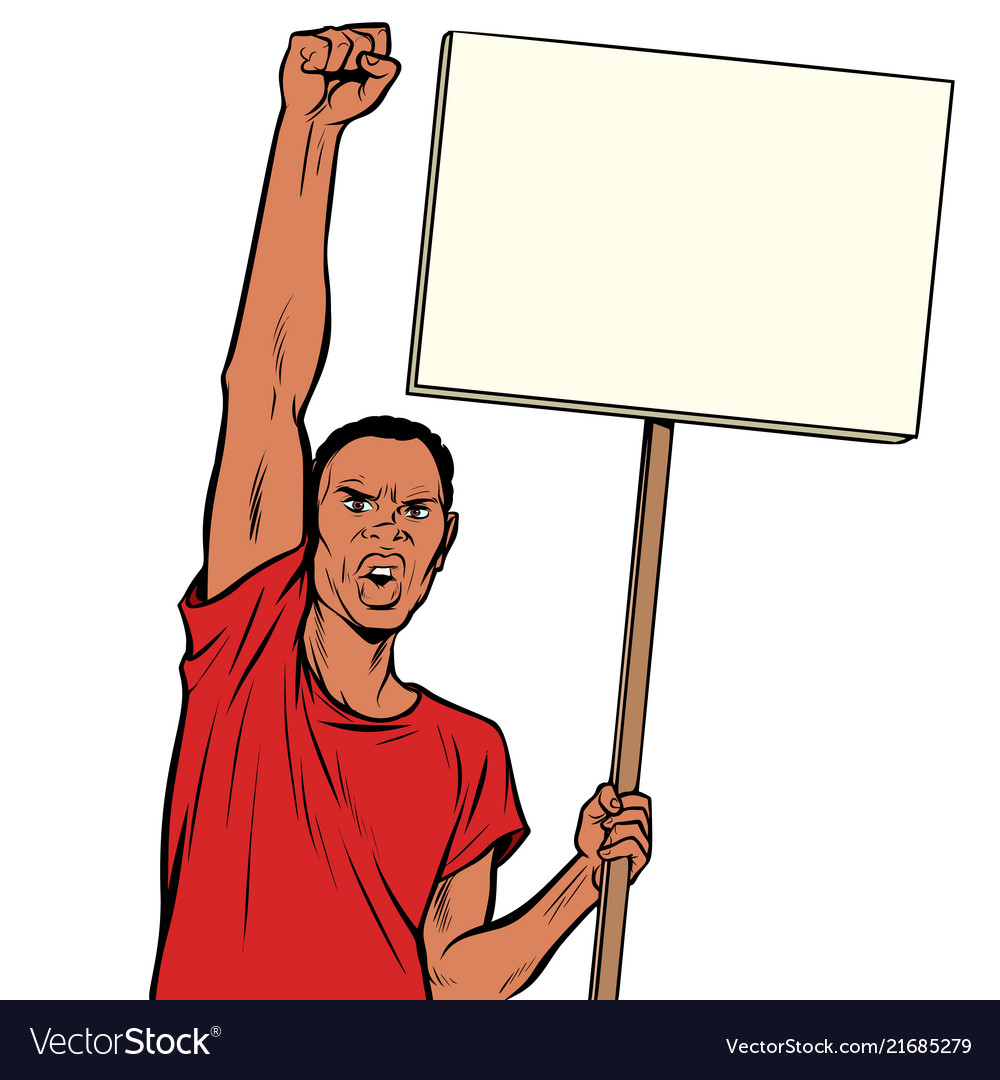 Afrikan man protests with a poster isolate