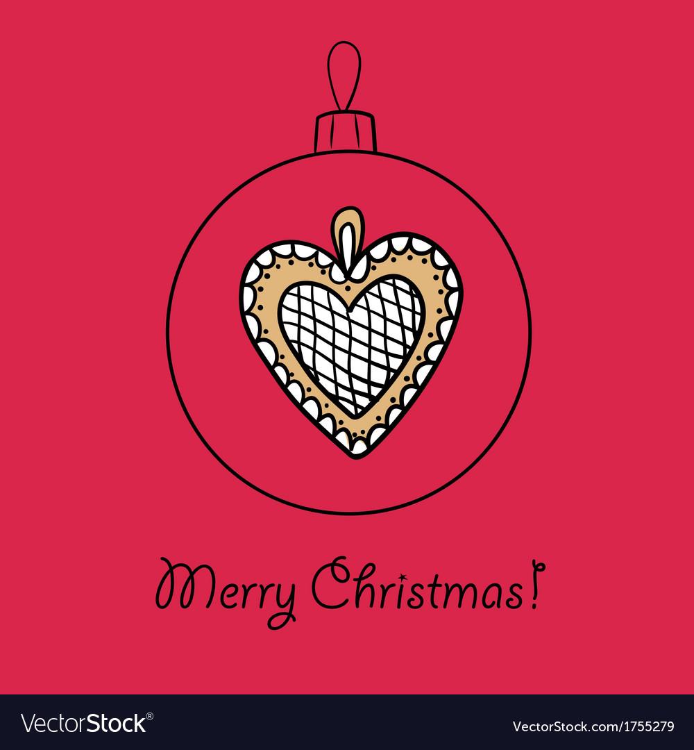 Christmas Heart Vector.Ball With Christmas Heart