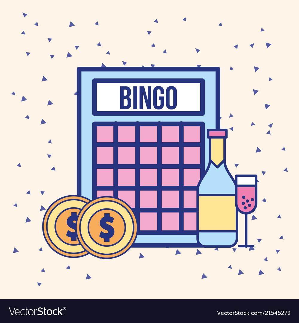 Bingo Coins Money And Drink Bottle Image Vector Image