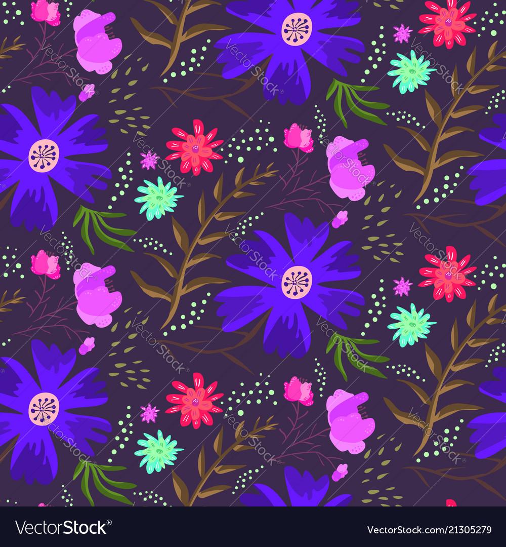 Bright blue night floral summer pattern