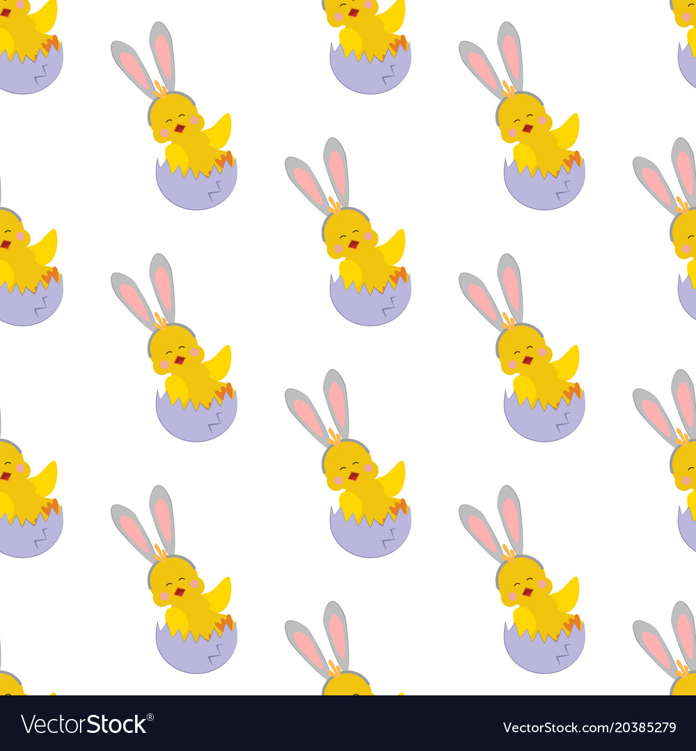 Chicken with bunny ears seamless pattern