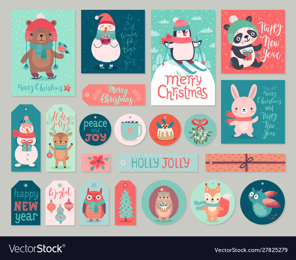 Christmas cards and gift tags set with animals