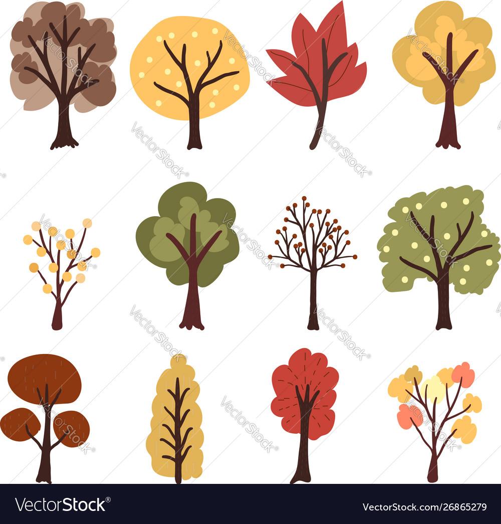 Flat style autumn tree collection eps10
