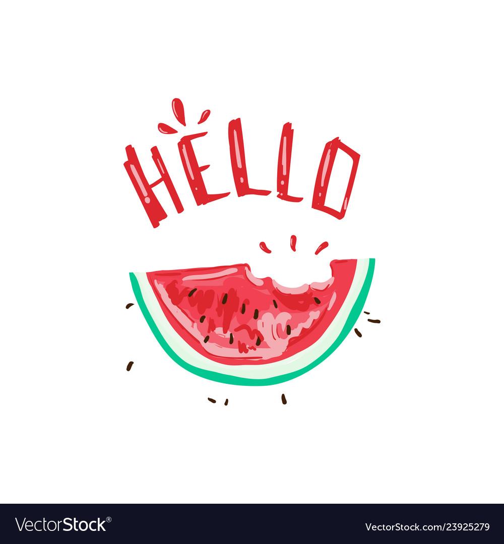 Hello tropical summer slogan with watermelon