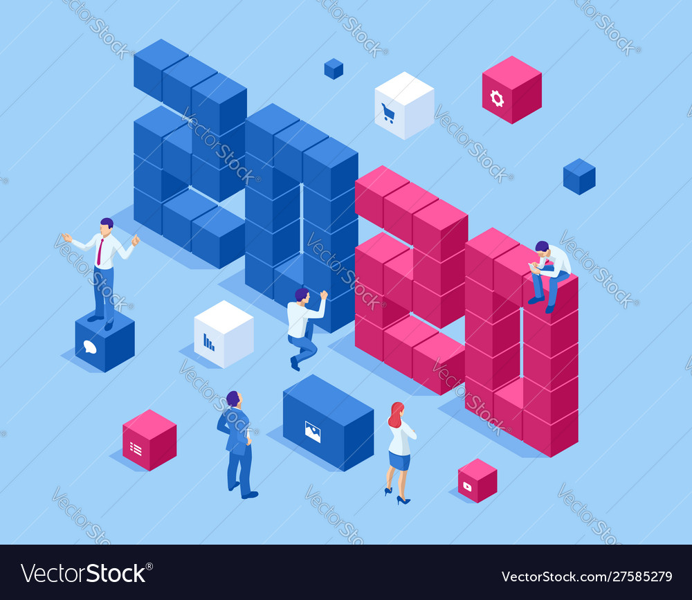 Isometric a happy new year 2020 greetings