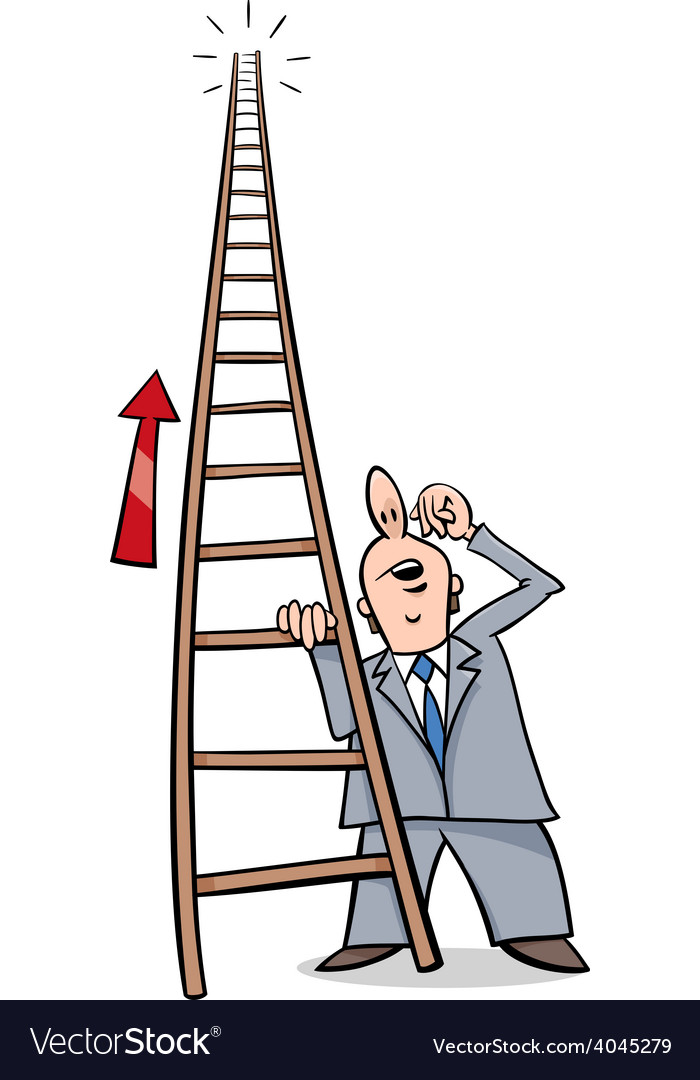 ladder of success cartoon royalty free vector image vectorstock