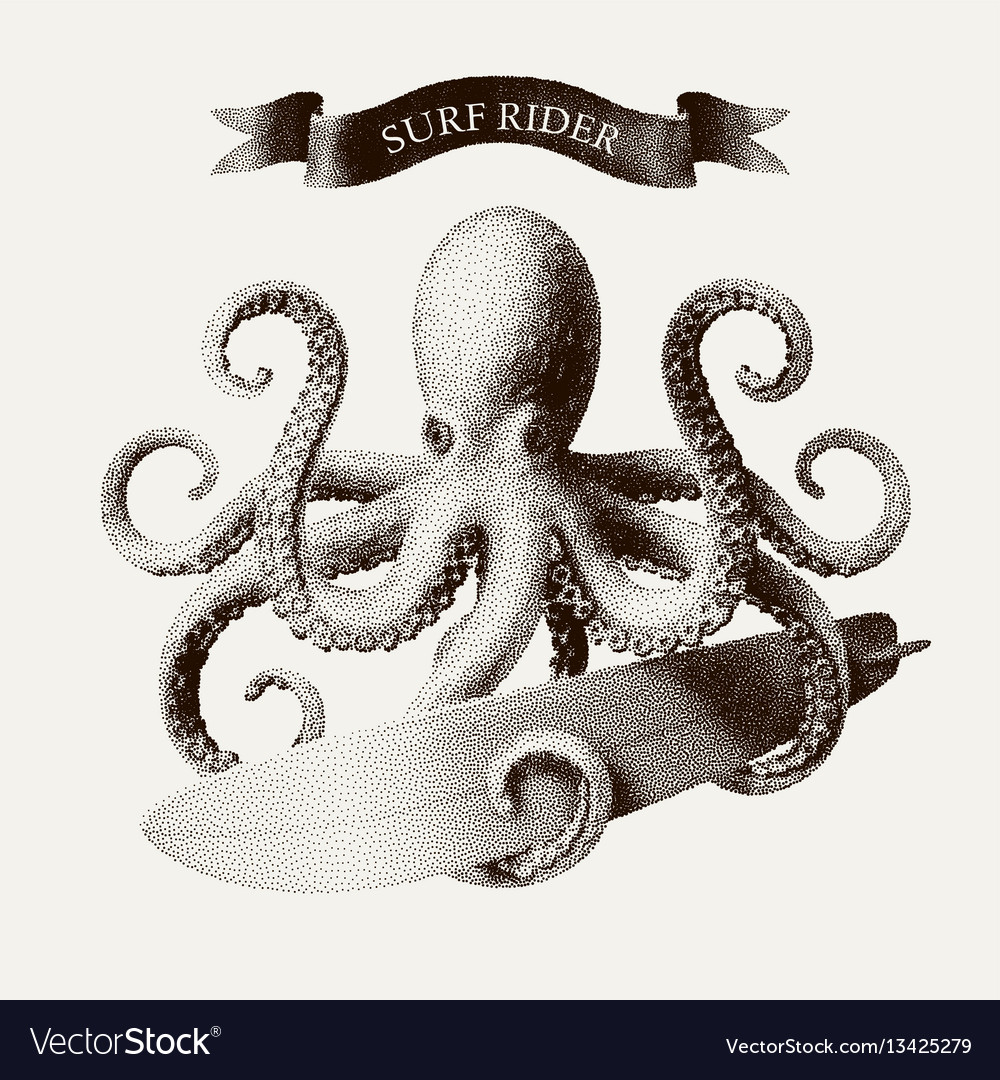 Octopus tentacles holding a surfboard in vector image