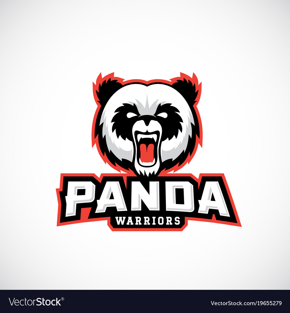 Panda warriors abstract sign emblem or