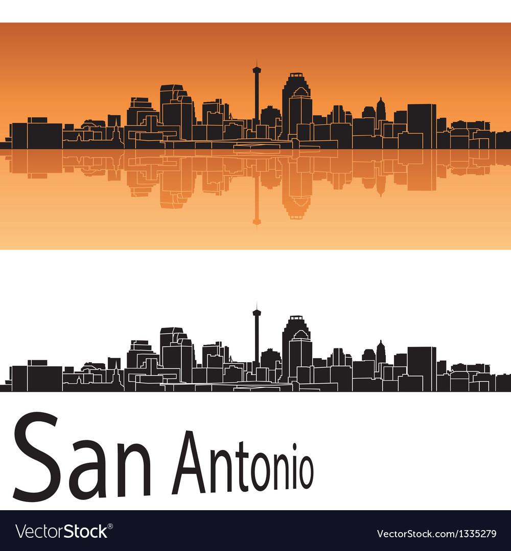 San Antonio skyline in orange background
