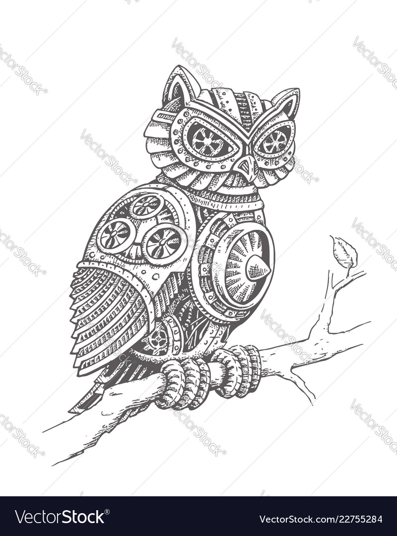 A mechanical owl on a tree branch in a steampunk