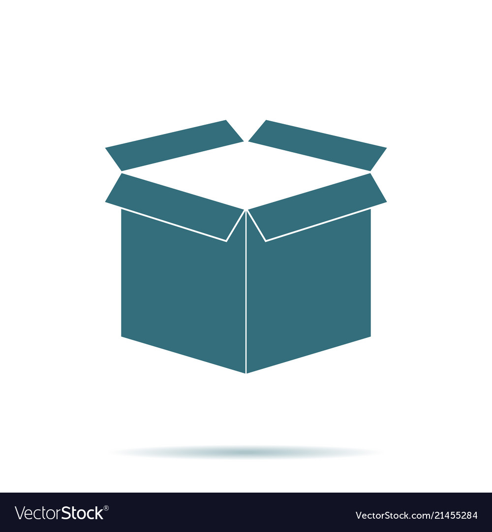 Blue open box icon isolated on background modern