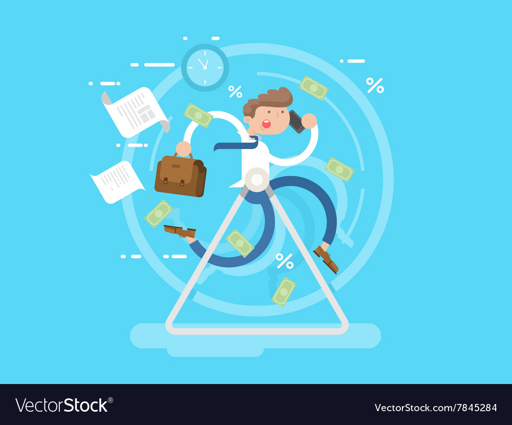Businessman at the wheel vector image