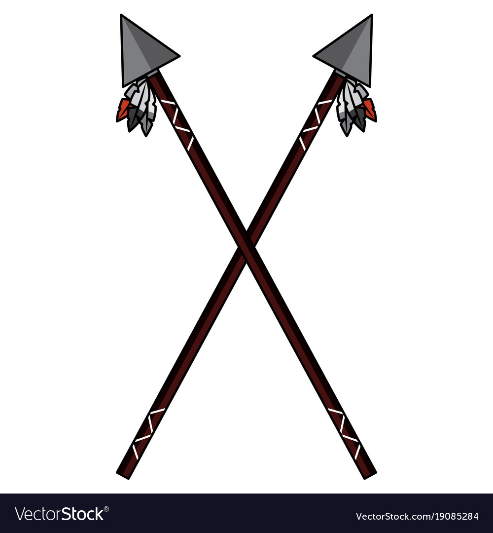 Crossed two spear native american indian weapon