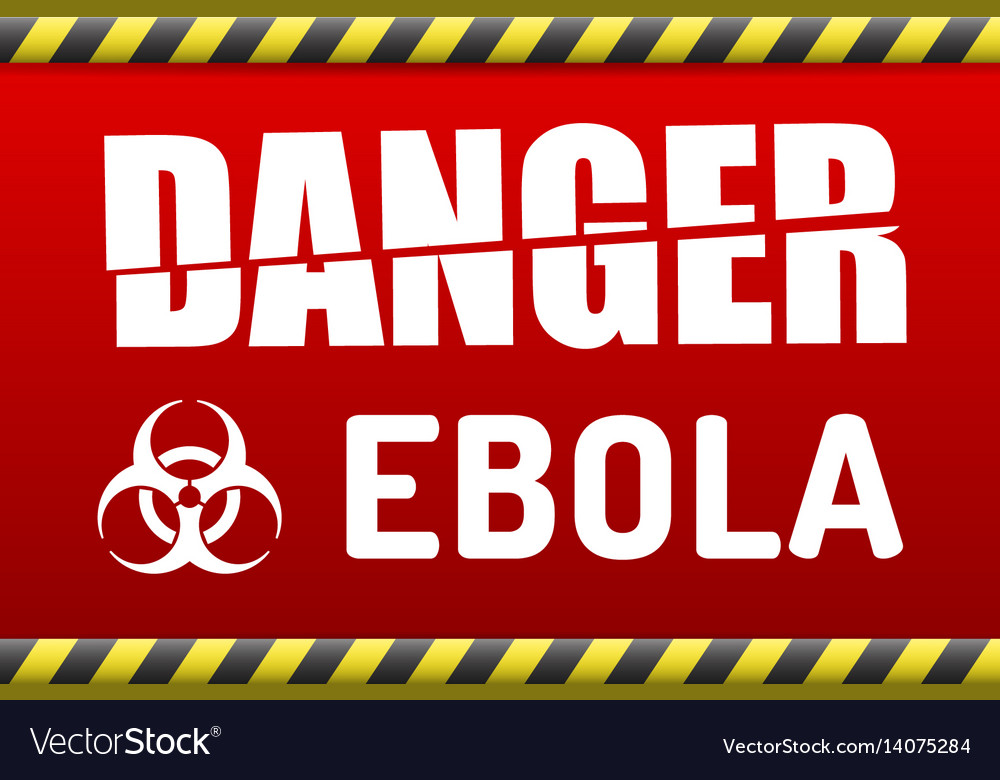 Ebola virus danger sign with reflect