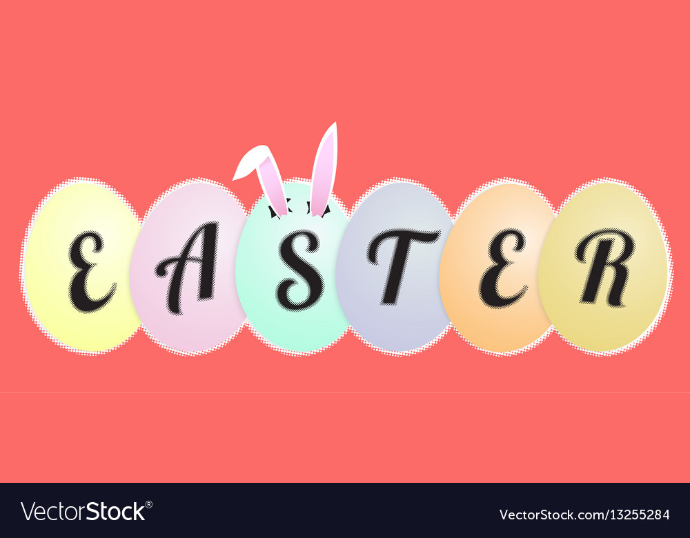 Funny easter greeting card rabbit ears in the egg