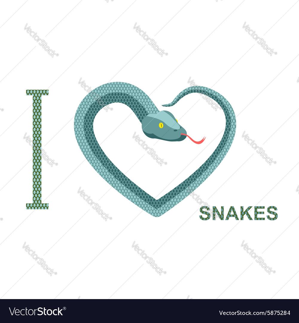 I love snakes Symbol of heart of snake Python