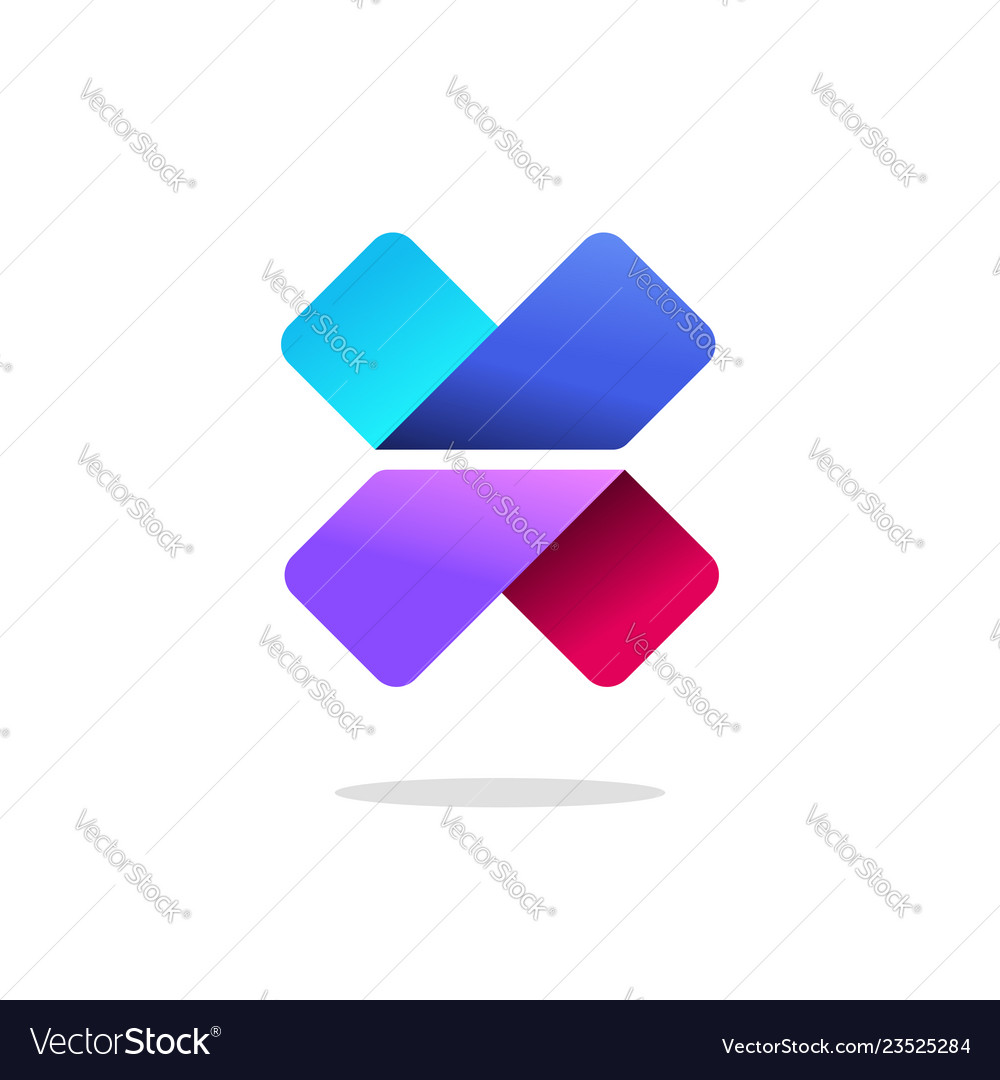 Letter x or v logo sign gradient colorful