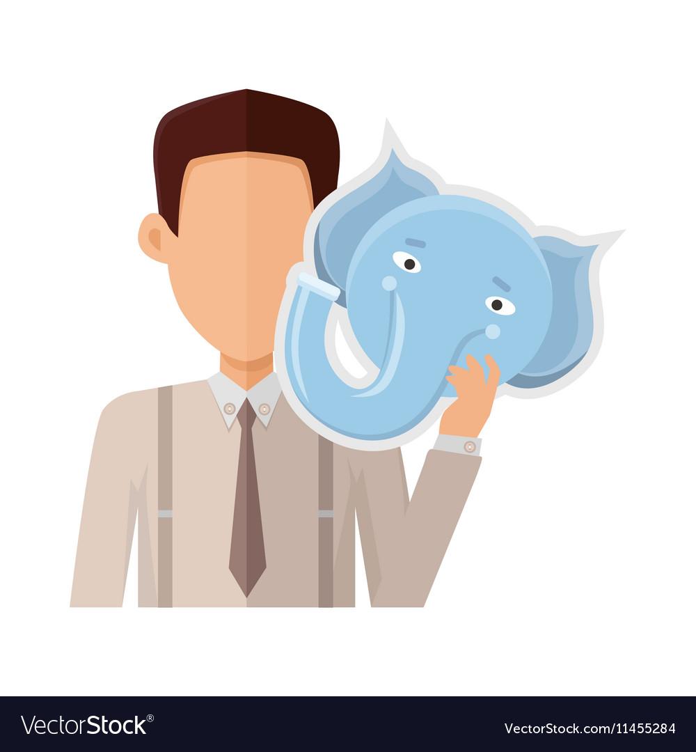 Man with Elephant Mask Flat Design vector image