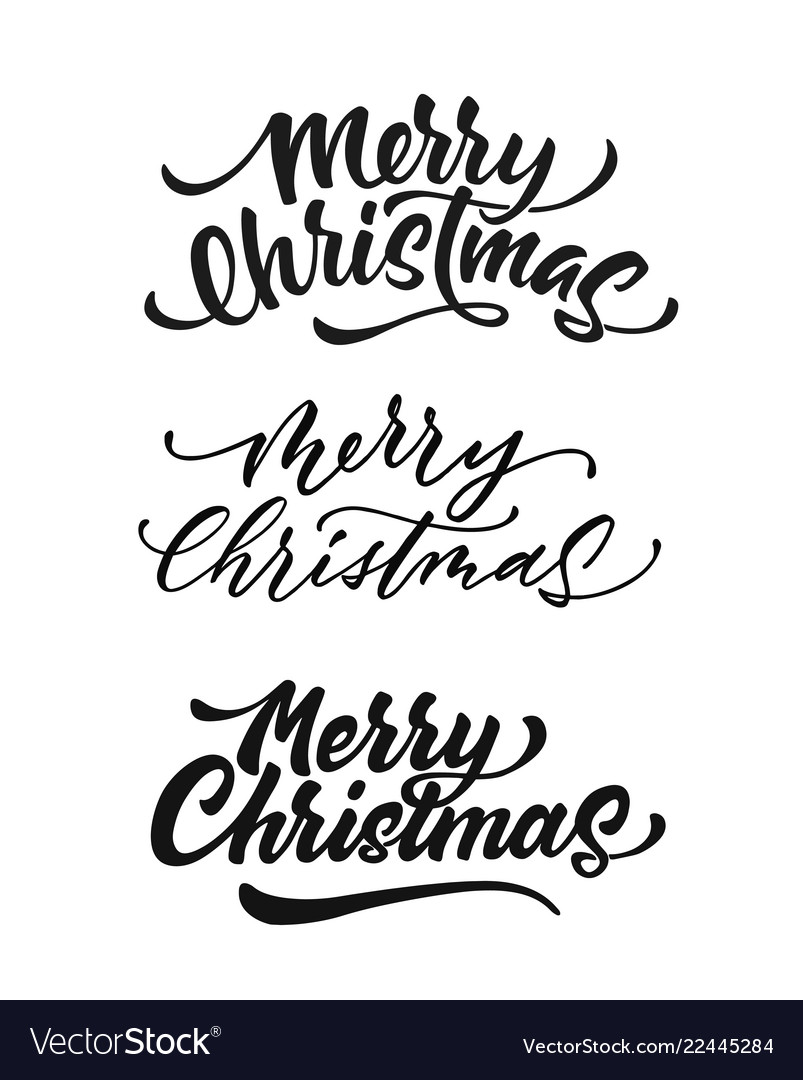 Merry christmas lettering script ink sign