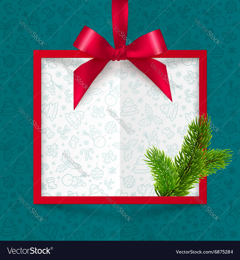 Red silky bow Christmas frame on blue doodle vector image