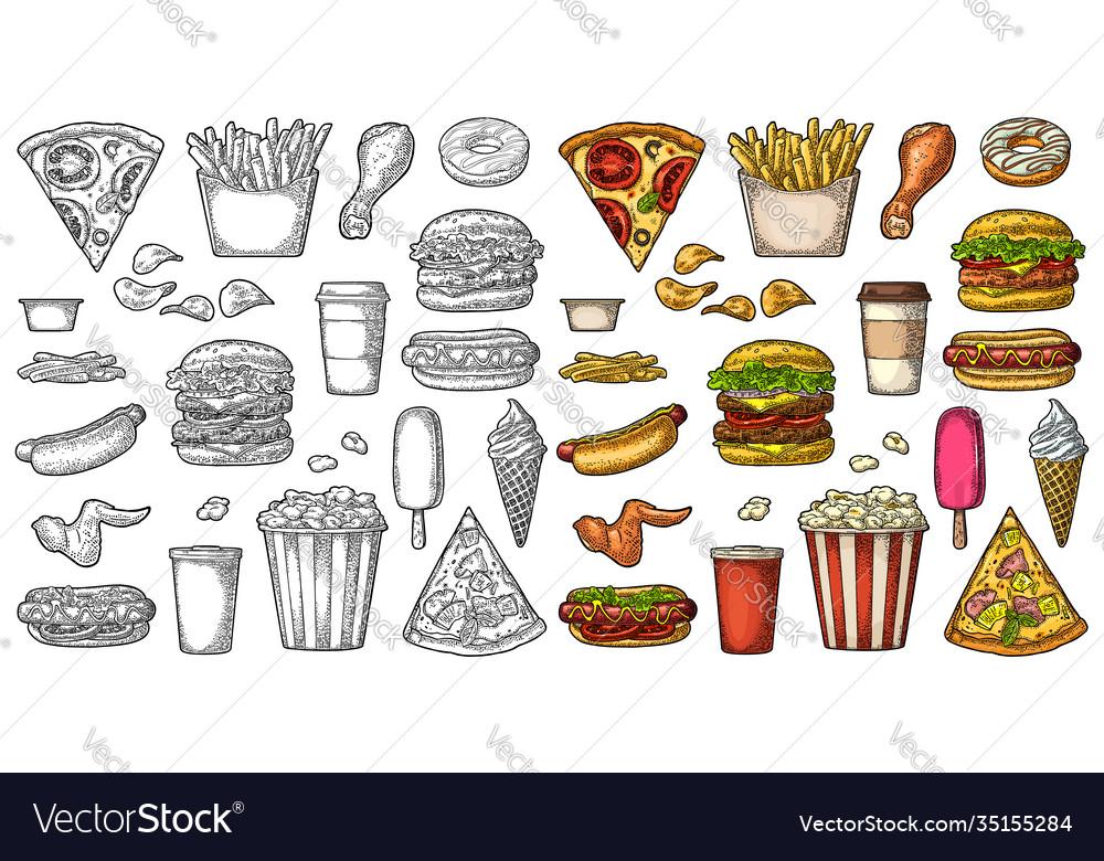 Set fast food coffee hamburger pizza hotdog