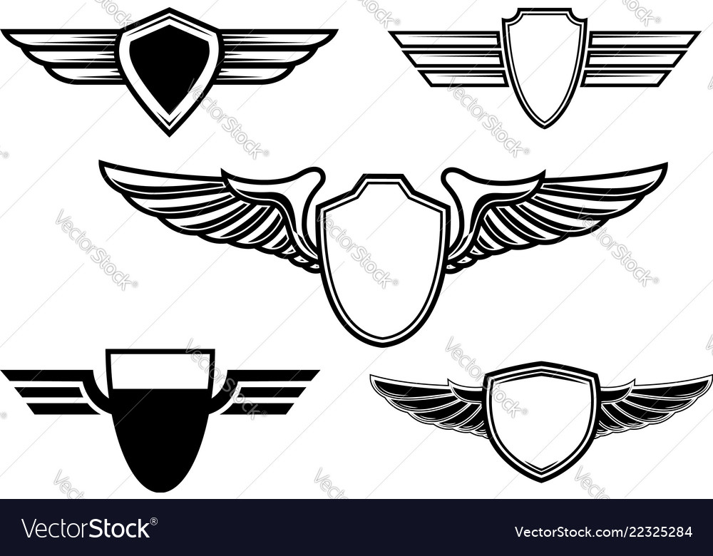 Set of retro emblems with wings design element