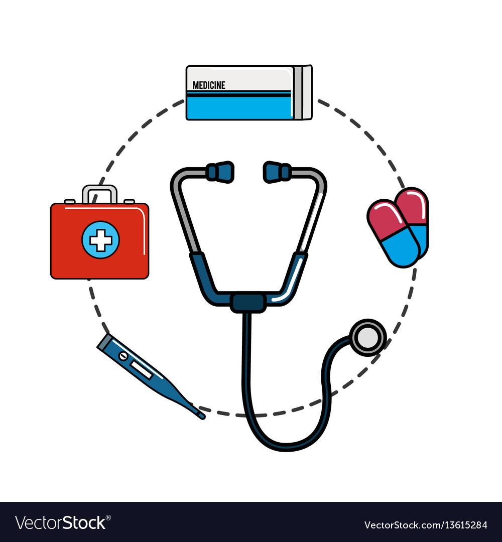 Tethoscope with hospital tools icon