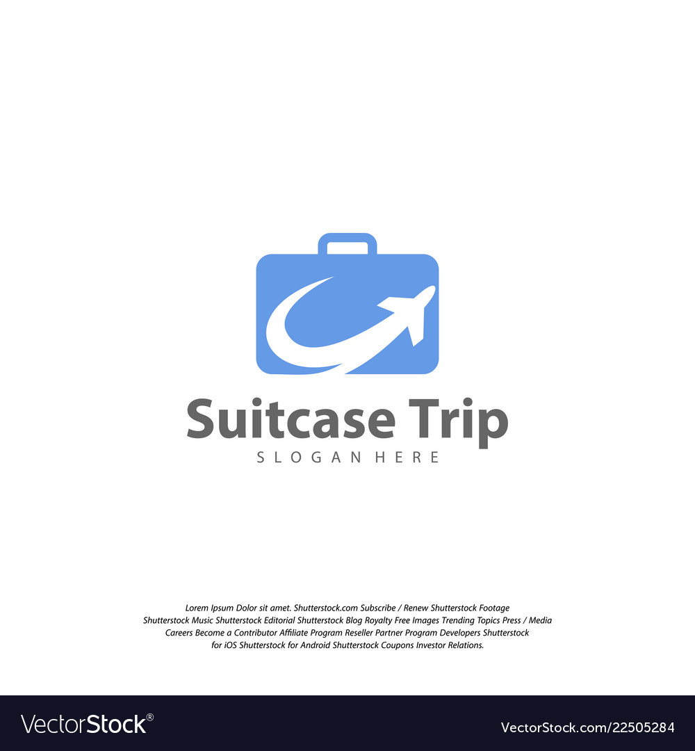 Travel logo with suitcase and airplane travel