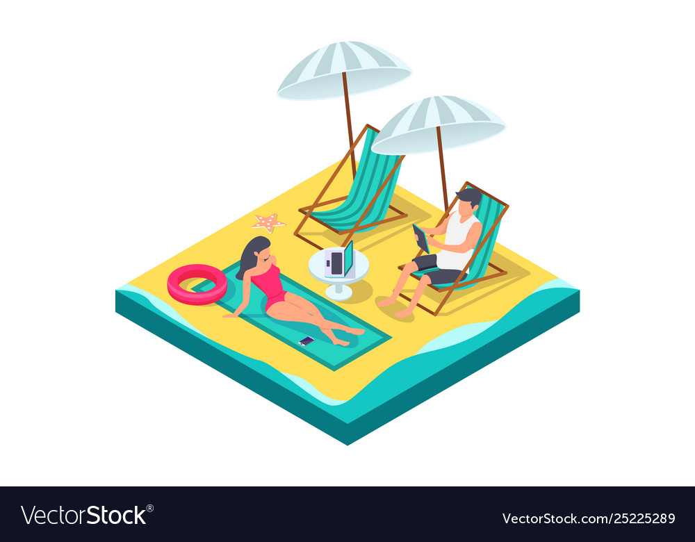 3d isometric man and woman couple with equipment