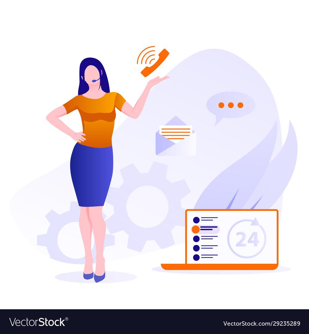 Customer support concept female hotline operator
