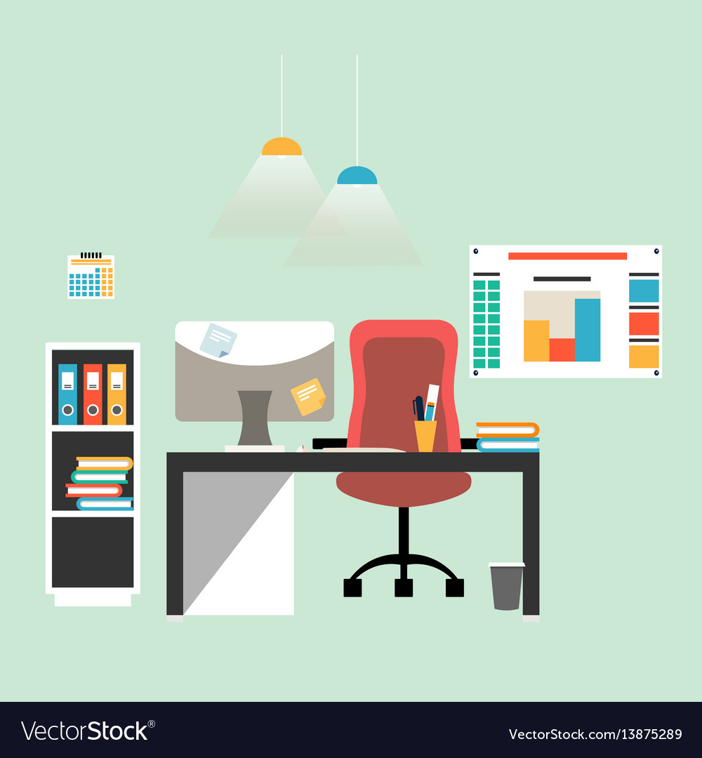 Flat design of modern workspace