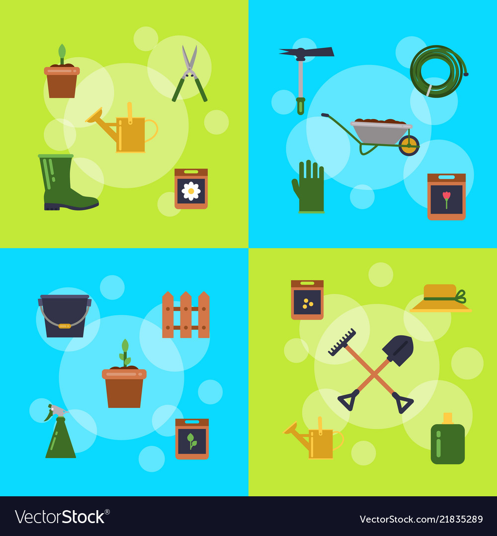 Flat gardening icons infographic