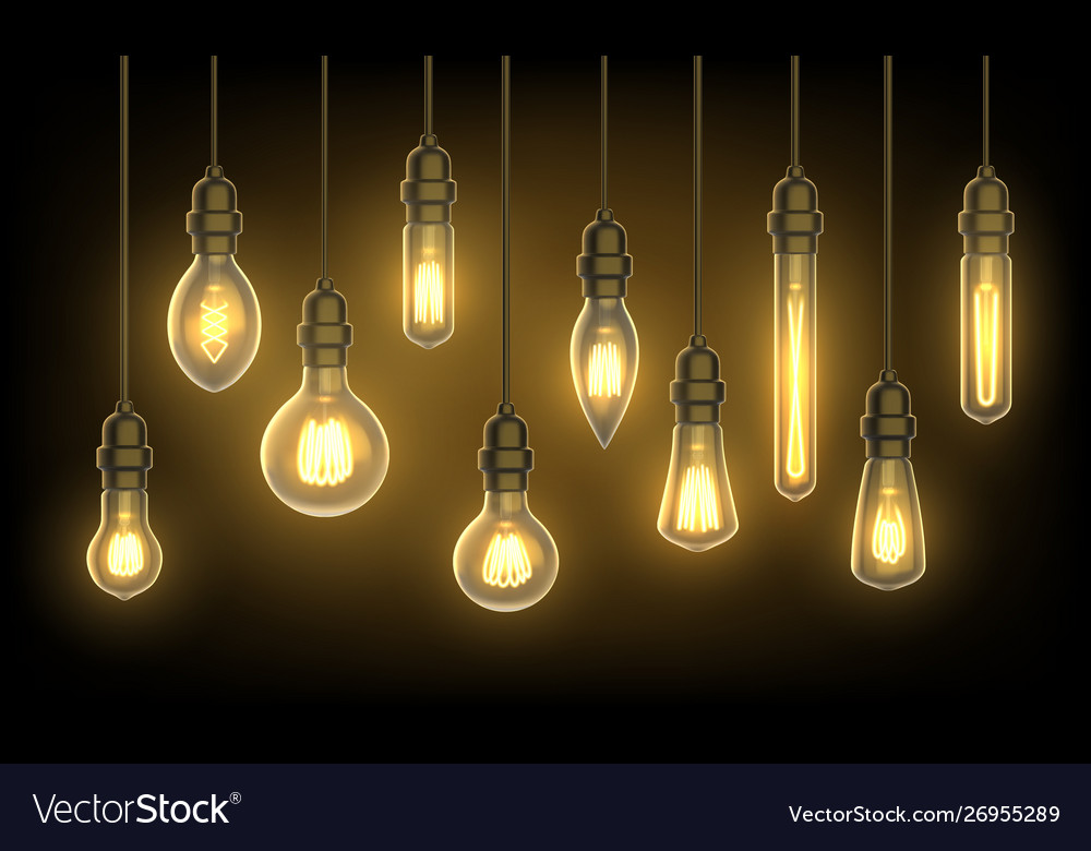 Light Bulbs On Wire Royalty Free Vector