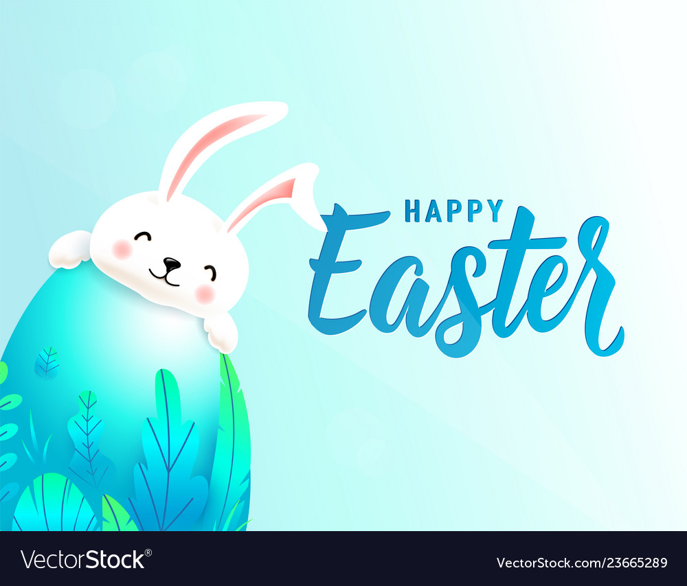 Happy easter card with big 3d spring leaves egg