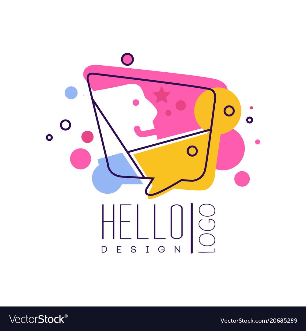 Hello logo logo design colorful emblem with hello
