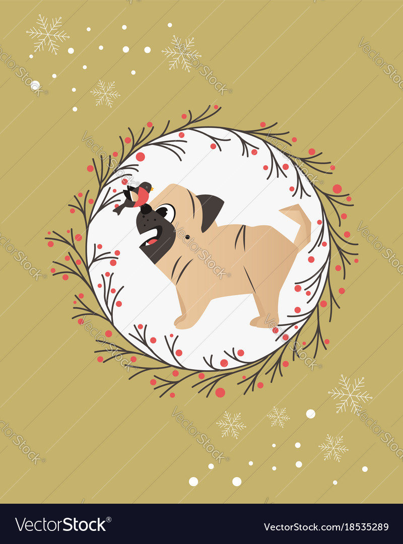 Holiday greeting card with funny pug and bird vector image m4hsunfo