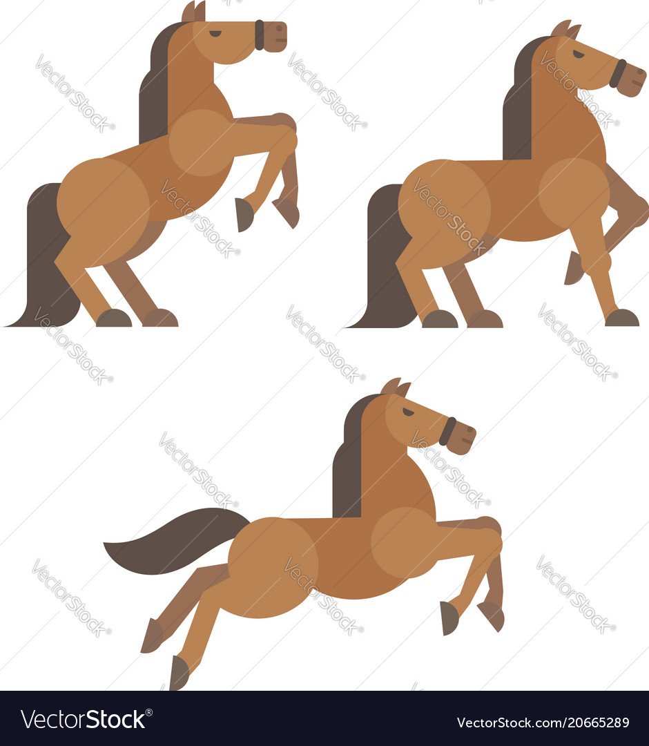 Horse poses flat brown horse rearing standing vector image