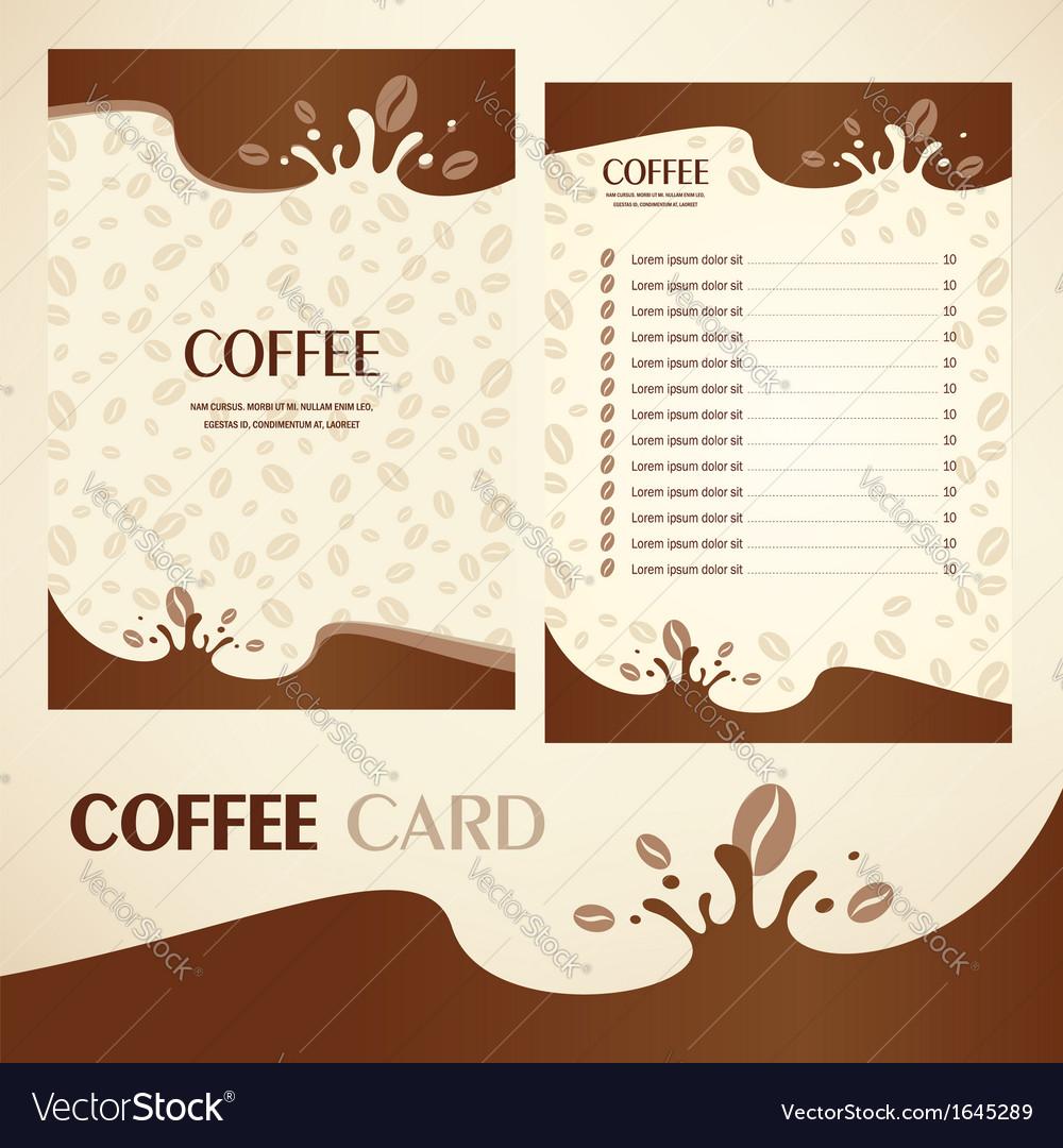 Menu coffee card